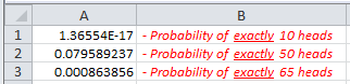 Excel Binom.Dist Function Results