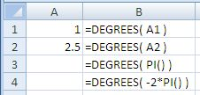 Examples of use of the Excel Degrees Function