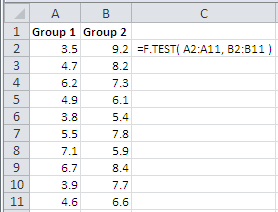 Example of use of the Excel F.Test Function