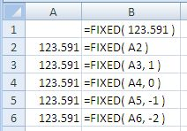 Examples of use of the Excel Fixed Function