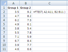 Examples of use of the Excel Ftest Function