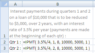 Example of use of the Excel Ipmt Function