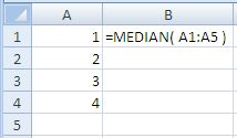Example of use of the Excel Median Function