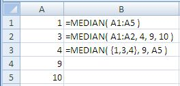 Examples of use of the Excel Median Function