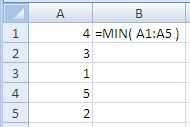 Example of use of the Excel Min Function