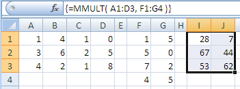 Example of the Excel Mmult Function