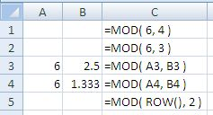 Examples of use of the Excel Mod Function