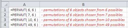 Examples of use of the Excel Permut Function