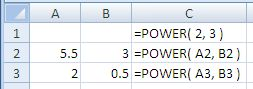 Examples of use of the Excel Power Function