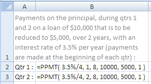 Example of use of the Excel Ppmt Function