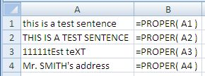 Examples of use of the Excel Proper Function