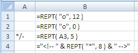 Examples of use of the Excel Rept Function