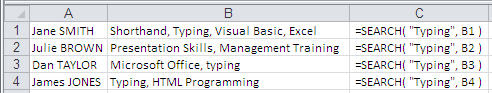 Example of use of the Excel Search Function