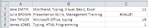 Excel Search Function Example Results