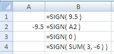 Examples of use of the Excel Sign Function