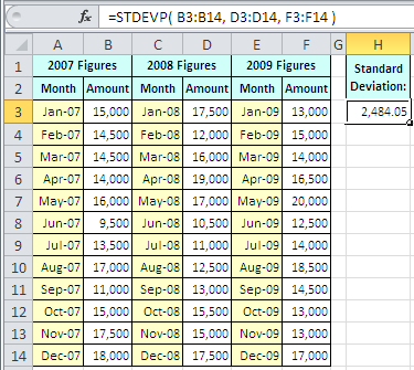 Example of use of the Excel Stdevp Function