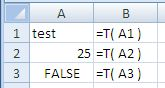 Examples of use of the Excel T Function