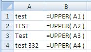 Examples of use of the Excel Upper Function
