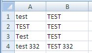 Excel Upper Function Results