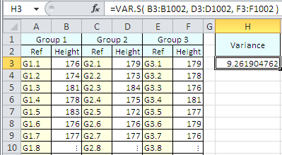 Example of use of the Excel Var.S Function