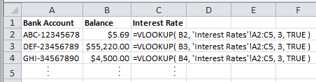 Spreadsheet of Bank Accounts with Vlookup Formulas