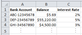Spreadsheet of Bank Accounts with Vlookup Function Results