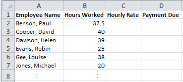 Spreadsheet of Sales Team Hours Used in Excel Vlookup Example