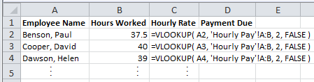 Spreadsheet of Sales Team Hours Showing Excel Vlookup Formulas