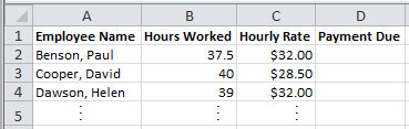Spreadsheet of Sales Team Hours Showing Results of Excel Vlookup