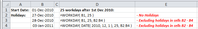 Examples of use of the Excel Workday Function
