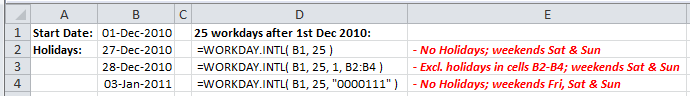 Examples of use of the Excel Workday.Intl Function
