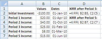 Example of use of the Excel XIRR Function