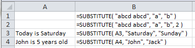 Examples of use of the Excel Substitute Function