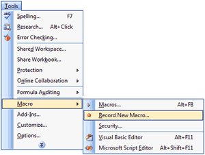 Excel 2003 Record Macro Option