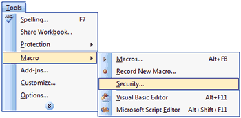 Macro Security Access in Excel 2003