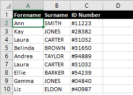 Excel Spreadsheet With Cell in Data Range Selected