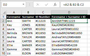 Concatenate Formula for Excel Duplicate Rows Example