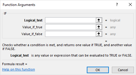 Excel Function Arguments Dialog Box for the If Function