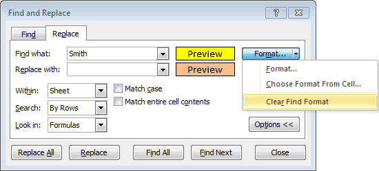 Option to Clear a Format in the Find and Replace Dialog Box