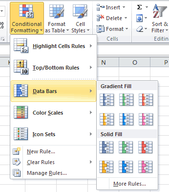 Conditional Formatting Data Bars Menu 2010