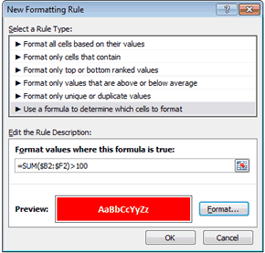Conditional Formatting Formula in Excel 2010