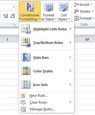Conditional Formatting Main Menu Excel 2010
