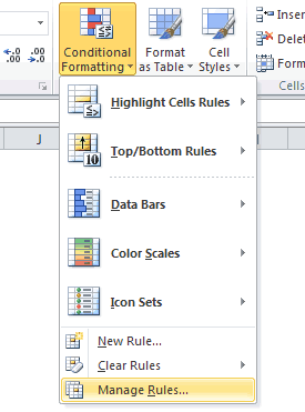 Conditional Formatting Manage Rules Option  in Excel 2010