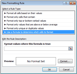 Conditional Formatting New Formatting Rule Menu in Excel 2010