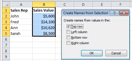 Excel Create Names From Selection Dialog Box