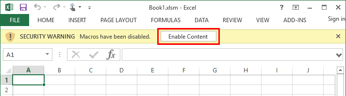 Enable macros button in Current Versions of Excel