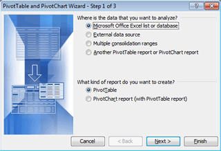 Excel 2003 Pivot Table Wizard Step 1 of 3