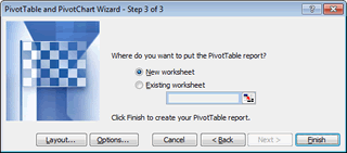 Excel 2003 Pivot Table Wizard Step 3 of 3