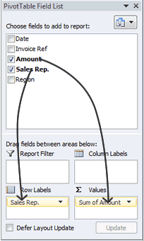 Excel 2010 Pivot Table Field List