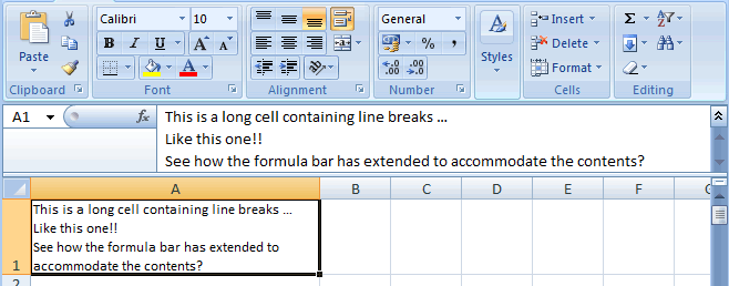 Extended Formula Bar in Excel 2007